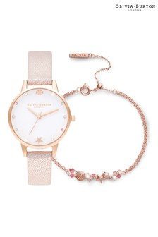 Olivia Burton Sparkle Pink Watch And Bracelet Set