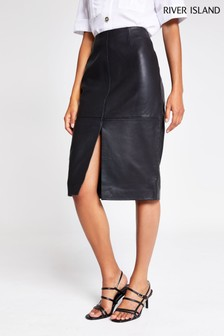 River Island Black Leather Split Pencil Skirt