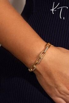 Kate Thornton Gold Chunky Pavé Link Chain Bracelet