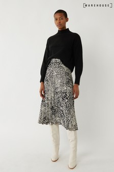 Warehouse Mono Animal Pleated Midi Skirt