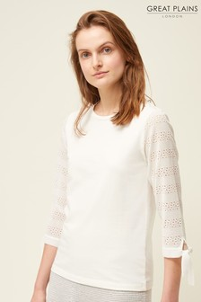 Great Plains White Monmarte Jersey 3/4 Sleeve Sweater