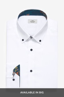 Cotton Textured Slim Fit Button Down Trim Detailed Shirt