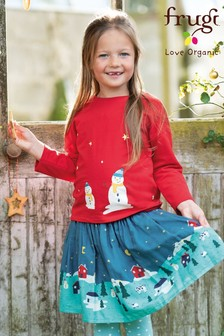 Frugi Organic Christmas Top With Snowman Appliqué