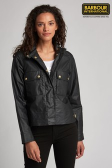 Barbour® International Black Coated Cropped Trackrace Jacket