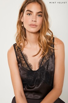 Mint Velvet Brown Chocolate Lace Insert Cami