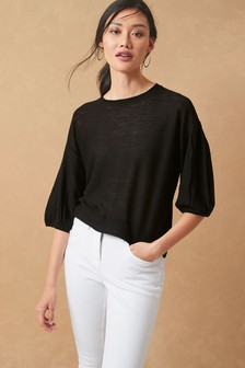 Linen Blend Volume Sleeve Jumper