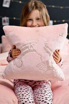 Metallic Fleece Unicorn Cushion