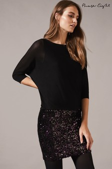 Phase Eight Black Geonna Sequin Skirt Dress