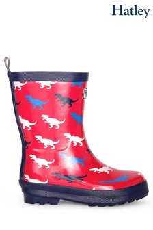 Hatley Red T-Rex Silhouettes Shiny Rain Boots