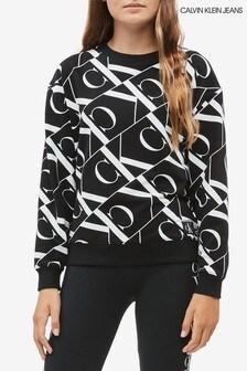 Calvin Klein Black Jeans Mirror Monogram Printed Sweatshirt