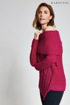 Harpenne Pink Asymmetric Chunky Knit Jumper