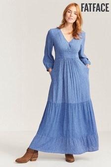 FatFace Blue Asha Daisy Patchwork Maxi Dress