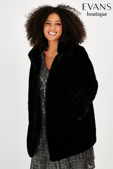 Evans Black Midi Faux Fur Funnel Coat