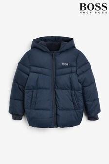 BOSS Navy Logo Puffer Jacket