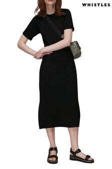 Whistles Black Jersey Split Hem Dress