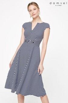 Damsel In A Dress Blue Tilly Stripe Jersey Dress
