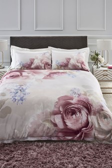 Cotton Sateen Photographic Floral Duvet Cover and Pillowcase Set
