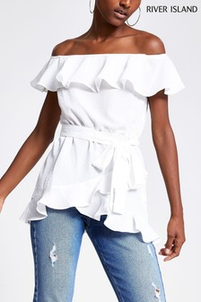 River Island White Lola Button Bardot Top