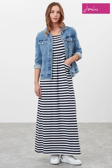 Joules Blue Trudy Jersey Maxi Dress With Pockets