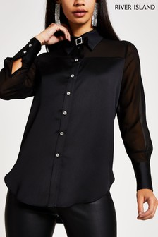 River Island Black Sheer And Solid Shirt