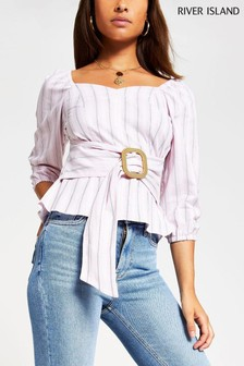 River Island Light Pink Stripe Belted Structured Top