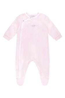 Girls Pink Logo Print Babygrow