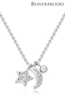 Beaverbrooks Sterling Silver Cubic Zirconia Moon And Star Necklace