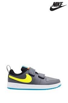 Nike Grey/White Pico Junior Velcro Trainers