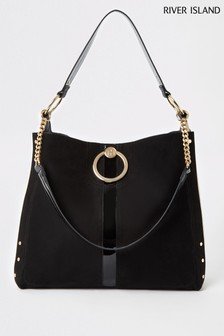 River Island Black Ring Front Slouch Bag