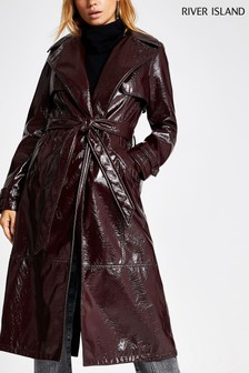 River Island Berry Vinyl Trench Jacket