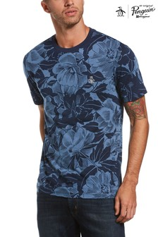 Original Penguin® Blue Indigo Floral Print T-Shirt