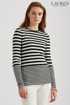 Lauren Ralph Lauren® Black/White Stripe Elena Jersey Top