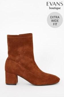 Evans Extra Wide Fit Brown Block Heel Sock Boots