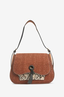 Snake Embossed Hobo Bag