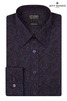 Jeff Banks Purple Design Paisley Print Tailored Fit Shirt