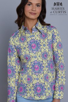 Hawes & Curtis Yellow Vintage Paisley Fitted Shirt