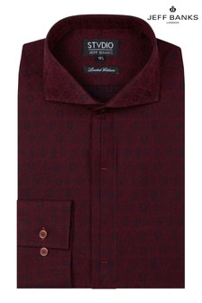 Jeff Banks Red Jacquard Motif Fit Shirt With Cutaway Collar