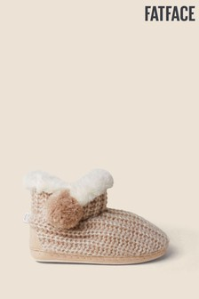 FatFace Natural Nina Knitted Pom Boots