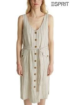 Esprit Cream Summer Belted Dress