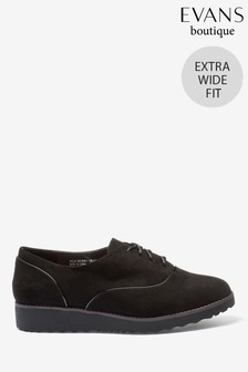 Evans Extra Wide Fit Black Patent Piping Lace-Up Brogues