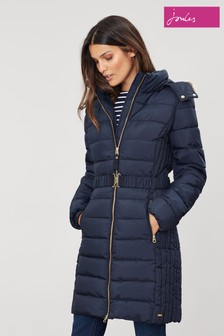 Joules Blue Holmbury Long Padded Coat With Elasticated Belt