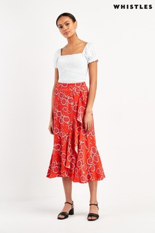 Whistles Multi Diagonal Floral Print Skirt