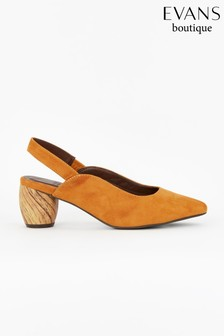 Evans Yellow Extra Wide Fit Wood Heel Slingback Shoes