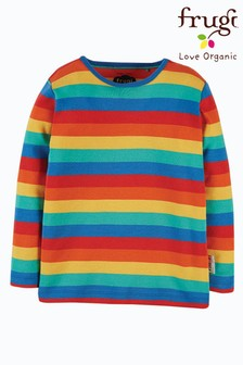 Frugi Red Organic Cotton Long Sleeve Rainbow Top