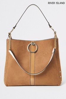 River Island Tan Ring Front Slouch Bag