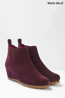 White Stuff Purple Issy Wedge Ankle Boots