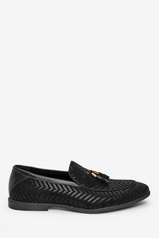 Herringbone Pattern Loafers