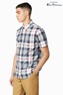 Ben Sherman Navy Short Sleeve Large Scale Check Shirt