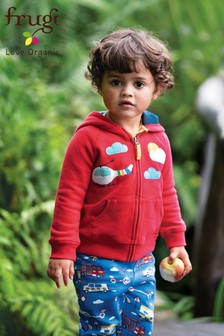 Frugi Organic Red Hoody With Helicopter Appliqué