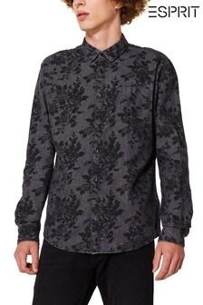 Esprit Black Rose Print Denim Shirt